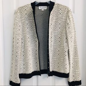 St. John Collection Zip Up Studded Knit Cardigan 8